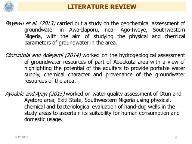 literature review on assessment of groundwater quality